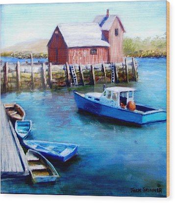 Wood Print featuring the painting Motif One Rockport Harbor by Jack Skinner