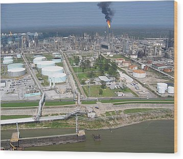 Motiva Petroleum Refinery Is Located Wood Print by Everett