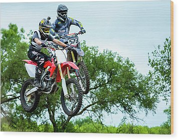 Wood Print featuring the photograph Motocross Battle by David Morefield