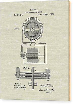 Motor 1888 Patent Art Wood Print