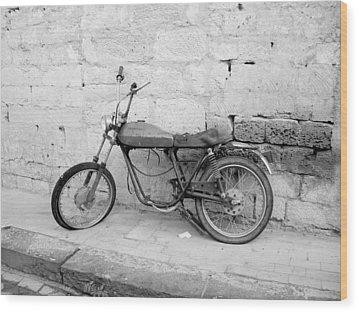Motor Bike With Flat Tire Wood Print