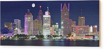 Wood Print featuring the photograph Motor City Night With Full Moon by Frozen in Time Fine Art Photography