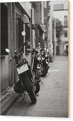 Motorbikes Parked On Street In Tokyo, Japan Wood Print by photo by Jason Weddington