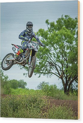 Wood Print featuring the photograph Motocross Aerial by David Morefield