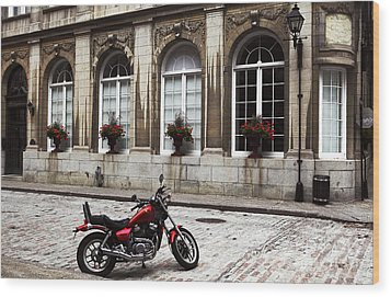Motorcycle In Old Montreal Wood Print by John Rizzuto
