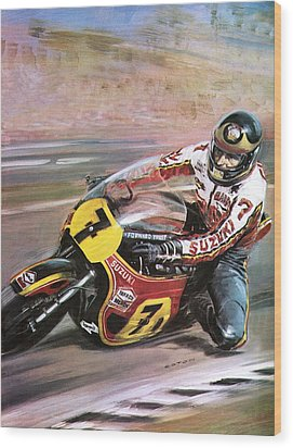 Motorcycle Racing Wood Print by Graham Coton