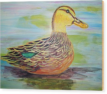 Mottled Duck Wood Print by Belinda Lawson