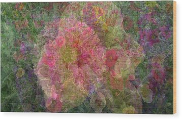Mottled Pink Collage Pop Wood Print by Kathy Barney