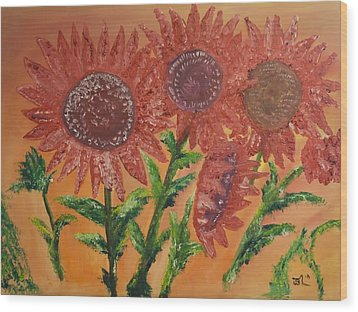 Moulinrouge Sunflowers Wood Print by James Bryron Love