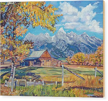 Moulton's Barn Grand Tetons Wood Print by David Lloyd Glover