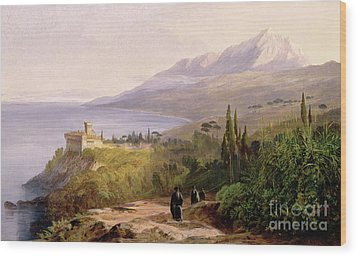 Mount Athos And The Monastery Of Stavroniketes Wood Print by Edward Lear