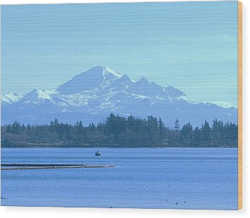 Mount Baker From The Spit Wood Print by James Johnstone