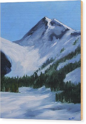 Wood Print featuring the painting Mount Baker Glacier by Nancy Merkle
