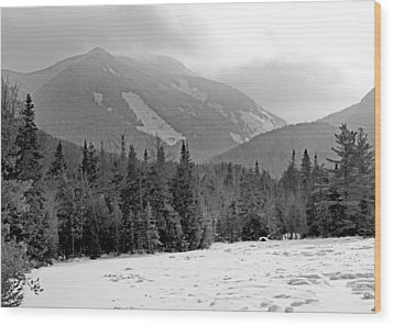 Mount Colden During Winter From Marcy Dam In The Adirondack Mountains Wood Print by Brendan Reals