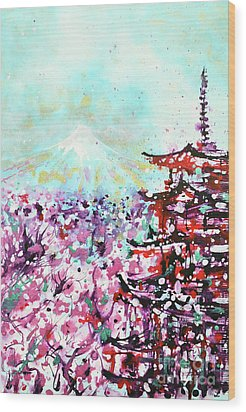 Wood Print featuring the painting Mount Fuji And The Chureito Pagoda In Spring by Zaira Dzhaubaeva