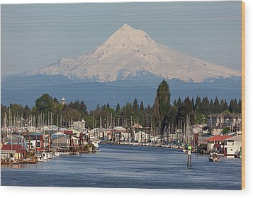 Mount Hood And Columbia River House Boats Wood Print by David Gn