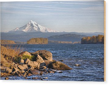 Wood Print featuring the photograph Mount Hood And The Columbia River by Jim Walls PhotoArtist