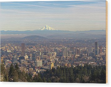 Mount Hood Over City Of Portland Oregon Wood Print by David Gn