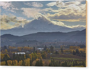 Mount Hood Over Hood River Valley In Fall Wood Print