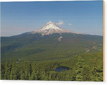 Mount Hood Over Mirror Lake Wood Print by David Gn