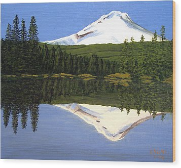 Wood Print featuring the painting Mount Hood-trillium Lake by Frederic Kohli