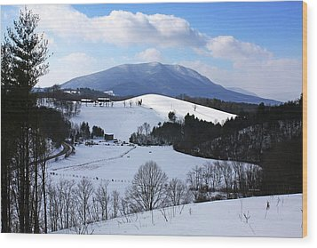 Mount Jefferson Winter Wood Print by Dale R Carlson