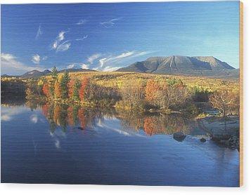Mount Katahdin From Abol Bridge Wood Print by John Burk