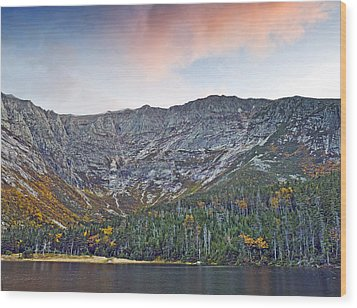 Mount Katahdin From Chimney Pond In Baxter State Park Maine Wood Print by Brendan Reals