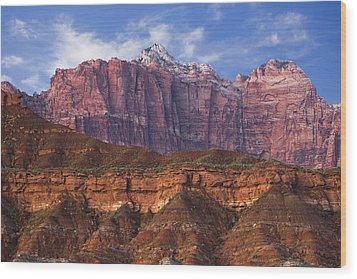 Mount Kinesava In Zion National Park Wood Print by Utah Images