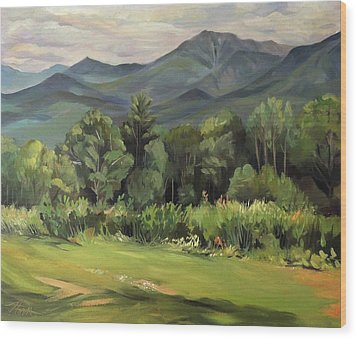 Wood Print featuring the painting Mount Lafayette From Sugar Hill New Hampshire by Nancy Griswold