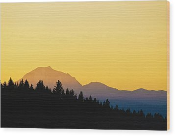 Wood Print featuring the photograph Mount Lassen At Sunset by Sherri Meyer