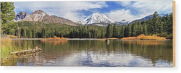 Wood Print featuring the photograph Mount Lassen Autumn Panorama by James Eddy