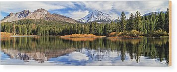 Wood Print featuring the photograph Mount Lassen Reflections Panorama by James Eddy