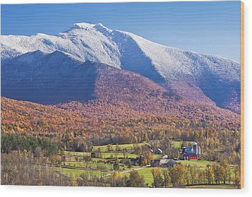 Mount Mansfield Autumn Snowfall Wood Print by Alan L Graham