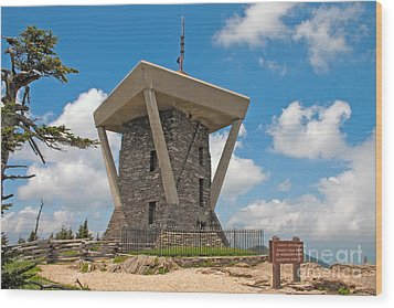 Mount Mitchell Summit Tower Wood Print by Steven Dillon