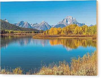 Mount Moran From The Snake River In Autumn Wood Print by James Udall