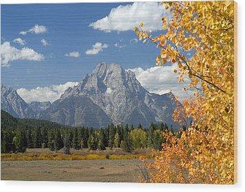 Mount Moran In Autumn Wood Print by Larry Ricker