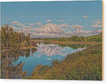 Mount Moran On Oxbow Bend Wood Print by Brian Harig