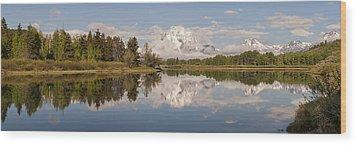 Mount Moran On Oxbow Bend Panorama Wood Print by Brian Harig