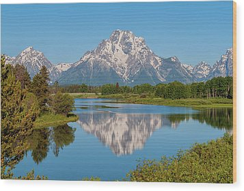 Mount Moran On Snake River Landscape Wood Print