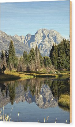 Mount Moran Reflections Wood Print by Marty Koch