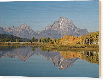 Wood Print featuring the photograph Mount Moran by Steve Stuller