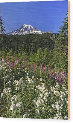 Mount Rainier Wood Print by Adam Romanowicz