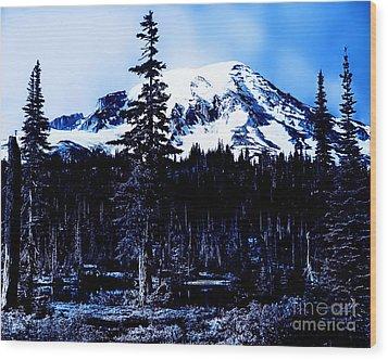 Mount Rainier Blue... Wood Print by Eddie Eastwood