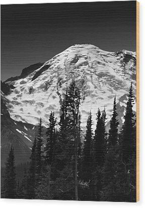 Mount Rainier Emmons And Winthrop Glaciers Washington  Wood Print by Brendan Reals