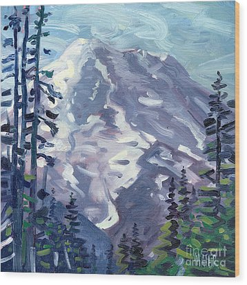 Mount Rainier From Sunrise Point Wood Print