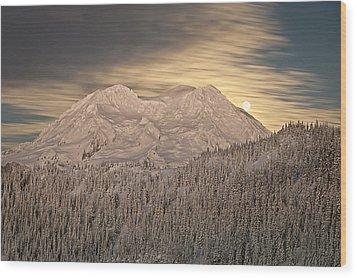 Mount Rainier Full Moonrise Winter Wood Print by Ed Book
