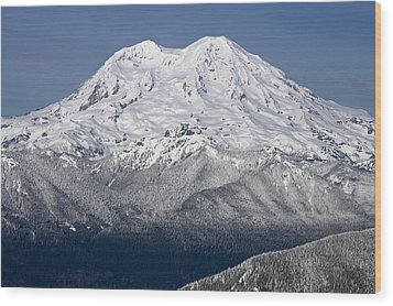 Mount Rainier In Winter From Mount Tahoma Trails High Hut Washi Wood Print by Ed Book