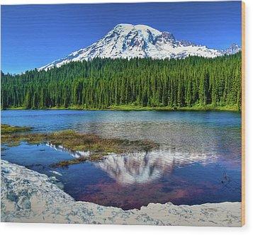 Mount Rainier Reflection Wood Print by Harry Strharsky