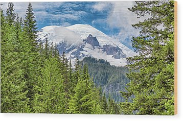 Wood Print featuring the photograph Mount Rainier View by Stephen Stookey